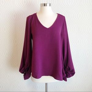 Impressions V-Neck Blouse with Balloon Sleeves